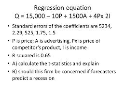 regression equation q 15 000 10p 1500a 4px 2i