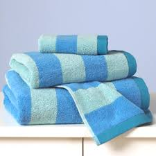 towel for kids. Kids Bath Towels: Blue Striped Towels - Stripe Wash Cloth Towel For E