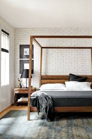 A modern canopy bed with the warmth of solid wood, our Hale bed creates a  bedroom oasis.The only thing I don't like are the slightly angled posts --  I much ...