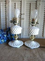 white milk glass lamp vintage lamps set of 2 cottage chic table beach decor hobnail white milk glass