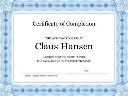 Templates For Certificates Of Completion Certificate Of Completion Blue