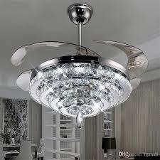 2018 led crystal chandelier fan lights invisible brilliant ceiling fans intended for 12