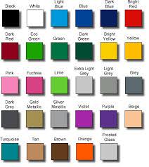 Colour Chart Vinyl Lettering New Zealand