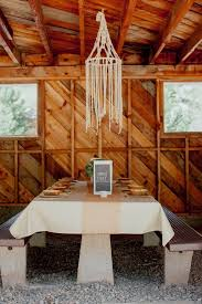 macrame chandelier barn reception decor