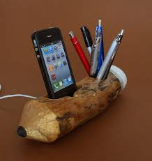 Pen Holder and iPhone Dock - Natural, rustic pencil shape - (geekery, unique