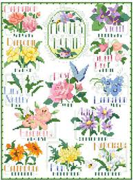 Flower Chart Flowers Of The Month Cross Stitch Chart
