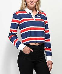 vans red white blue striped crop long sleeve polo shirt