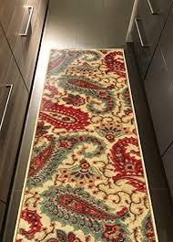 custom size beige multicolor paisley rubber backed non slip hallway stair runner rug carpet 22