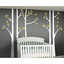 woodland forest birch tree decal set for yellow and gray nursery woodland wall decals