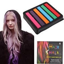 hots 6pcs crayons for hair crazy color dye powder manic panic chalk non toxic soft crayons for coloring the temporary blue