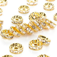 Details About 100x Brass Clear Rhinestone Bead Spacer Loose Beads 10mm Rondelle Bead Golden