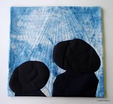 Here is my monochromatic quilt: Hats. It is based on this photo of my two  eldest sons walking home from school, that I took in 2010:
