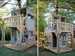 dad builds a dreamy airy two story treehouse with his kids