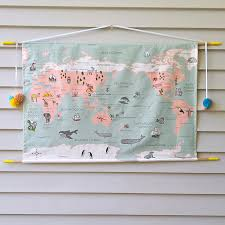 world map wall hanging by maker and merchant in pastels