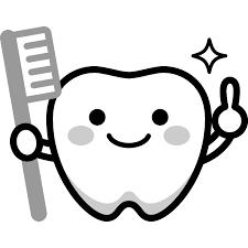 かわいい歯のキャラクターイラスト白黒 無料フリーイラスト素材集