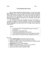 mending wall teaching resources teachers pay teachers  robert frost mending wall essay