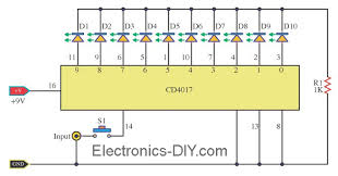 circuit zone com electronic projects, electronic schematics, diy 12 Volt Flasher Circuit Diagram 10 flashing leds using cd4017 12 volt led flasher circuit diagram
