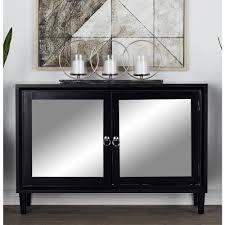 litton lane matte black storage cabinet with mirror inlaid doors