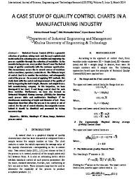 Control Charts In Manufacturing A Case Study Of Quality Control Charts In A Manufacturing