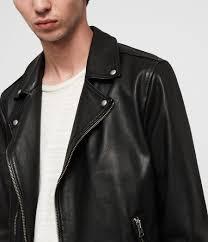 men s wick leather biker jacket black image 2