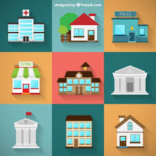home graphic design. variety of city buildings home graphic design t