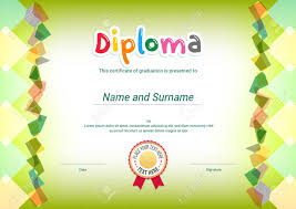 Kids Certificate Border Kids Diploma Or Certificate Template With Green Themel Background