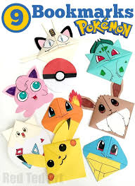 9 wonderful pokemon bookmark corners make one make them all the kids will love them mine do