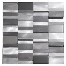 aluminum tile silver mix modern pattern  kitchen backsplash