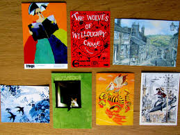 several bookish postcards