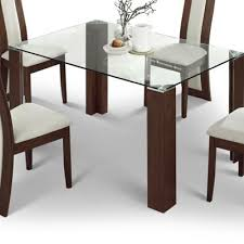 table 140cm. julian bowen mistral glass dining table with walnut - 140cm