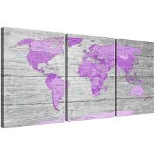 large purple and grey map of world atlas canvas wall art print with recent purple wall