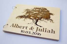 wooden wedding guest book oak tree carved heart