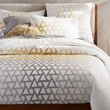 embroidered fading triangle duvet cover twin stone white