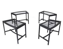 patio stool: four fire pit benches seat black mesh patio stool metal chair outdoor furniture
