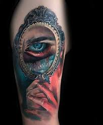 hand holding mirror tattoo. Beautiful Mirror Mens Colorful Unusual Hands Holding Mirror With Eye Tattoo On Arm Inside Hand O