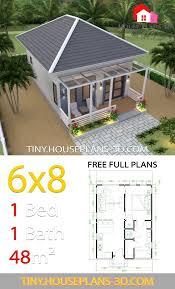 Studio House Plans 6x8 Hip Roof - Tiny House Plans | House roof design,  Tiny house plans, Hip roof design