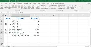 an example of using pahesis in excel to change order of operation