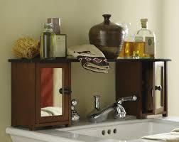 bathroom sink with the storage shelf