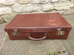 Image is loading Vintage-Leather-Suitcase-Brass-Coated-Lock-and-Clasp