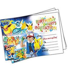 20 X Pokemon Go Kids Birthday Party Invitations Invites Cards