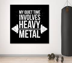 my quiet time involves heavy metal framed canvas wall art workout gym motivational royal crown on motivational wall art for gym with my quiet time involves heavy metal framed canvas wall art workout gym