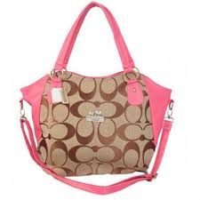 Coach Logo In Signature Small Pink Totes BKR
