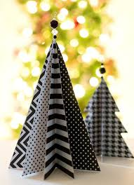 black and white tabletop trees