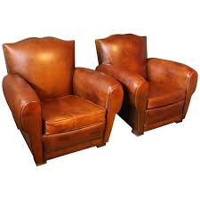 pair of 1930s french leather club chairs mustache back for
