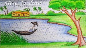 how to draw a scenery of rainy season step by step
