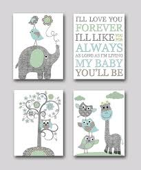 on baby boy room decor wall art with gray and blue elephant nursery giraffe from artbynataera on etsy
