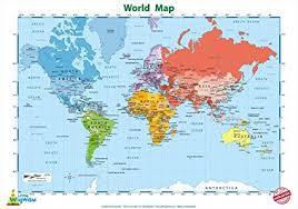 Little Wigwam World Map Chart No Tear Guarantee Educational Poster 60 X 42cm 24 X 17 Inches