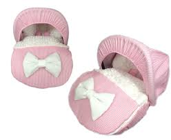 personalised pink stipe and fur fleece car seat foot with hood small world baby