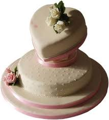 2 Tier Wedding Cake With Heart Shaped Tier