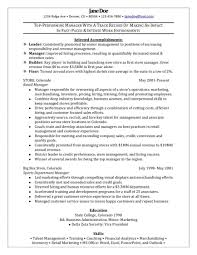 Retail Manager Resume Resumes Operation Objective Assistant Job